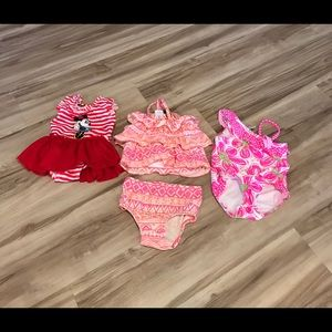 Other - 3 baby girl swimsuits and mermaid hat